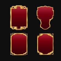 Etiquetas com conjunto de coleta de quadros dourados vermelhos decorativos 3D vetor