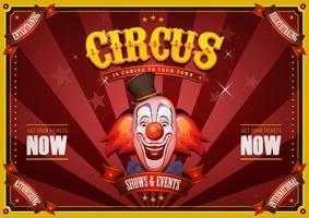 Cartaz de circo vintage com cabeça de palhaço