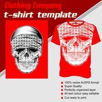 Modelo de t-shirt, totalmente editável com vetor de bandana de caveira