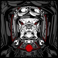 Cão, buldogue, usando uma motocicleta, capacete aero. Imagem desenhada de mão para tatuagem, t-shirt, emblema, distintivo, logotipo, patch. - vetor
