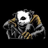 vetor de desenho de mão de panda com raiva