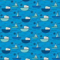 Fundo tirado mão do teste padrão do barco de pesca. Ilustração vetorial.
