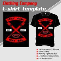 Modelo de t-shirt, totalmente editável com vetor de taco de beisebol cruz