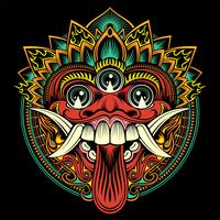 Máscara balinesa ritual tradicional. Ilustração de contorno vetorial - vetor
