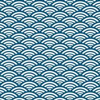 Estilo japonês do fundo azul do teste padrão de onda. Ilustração vetorial.