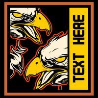 dois águia desenho vetorial de mão