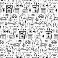 Padrão Com Mão De Linha Desenhada Doodle Fundo Da Música. Doodle engraçado. Ilustração vetorial artesanal. vetor