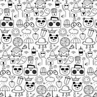 Padrão Com Linha Mão Desenhada Doodle Fundo Bonito. Doodle engraçado. Ilustração vetorial artesanal.