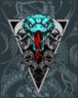 crânio com mão de cobra desenho vetorial