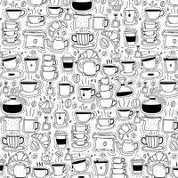 Padrão Com Linha Mão Desenhada Doodle Café Fundo. Doodle engraçado. Ilustração vetorial artesanal.