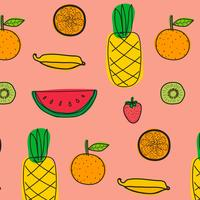 Fundo Com Teste Padrão Das Frutas. Mão desenhada ilustração vetorial.