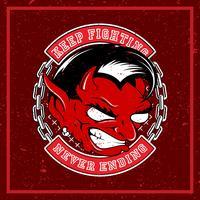 ilustração em vetor grunge estilo diabo vermelho com raiva