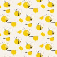 Fundo bonito do teste padrão da abelha. Ilustração vetorial.