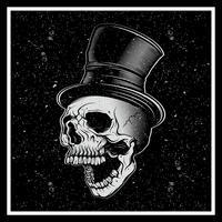 estilo grunge ilustração vetorial, um crânio de bigode em um chapéu, sobre um fundo escuro.n