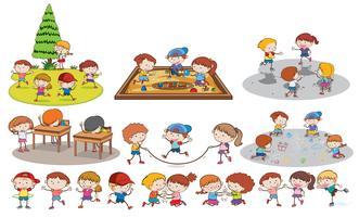 Conjunto de crianças fazendo atividades vetor