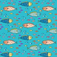 Fundo abstrato tirado mão do teste padrão dos peixes. Ilustração vetorial.