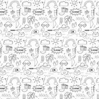 Padrão Com Fundo Do Verão Do Doodle Mão Tirada. Doodle engraçado. Ilustração vetorial artesanal.