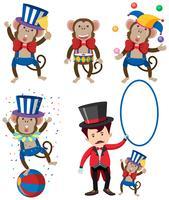 Um conjunto de personagem de circo de macaco vetor