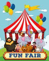 Pessoas e animais na feira de diversões vetor
