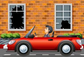 Homem, dirigindo, carro esporte, em, vizinhança áspera vetor