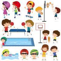 Muitas crianças jogando esportes diferentes vetor