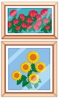Conjunto og quadro bela flor vetor