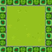 Um, jardim verde, borda