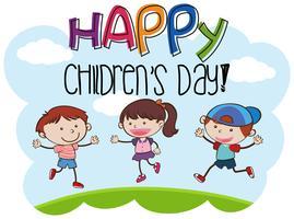 Feliz dia das crianças kid cena vetor