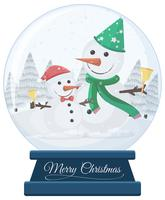 Bonecos de neve no globo de neve feliz natal vetor