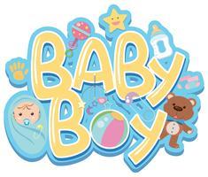Design de fonte para menino de palavra com bebê e brinquedos vetor