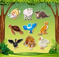 Conjunto de sticket animal vetor