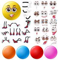 Diferentes expressões oculares e posições das pernas vetor