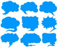 Bolhas do discurso azul em diferentes formas vetor