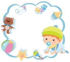 Modelo de fronteira com bebê fofo e brinquedos vetor
