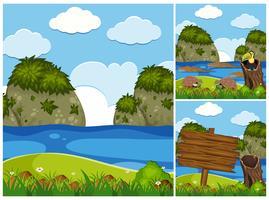 Três cenas da natureza com crocodilos no rio