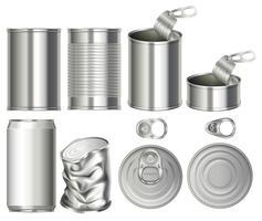 Um conjunto de lata recipiente vetor