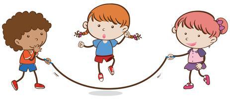 Miúdos que jogam a corda que salta no fundo branco vetor