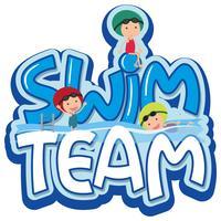 Projeto de fonte para a palavra equipe de natação com três nadadores vetor