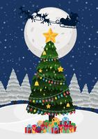 Uma árvore de natal à noite vetor