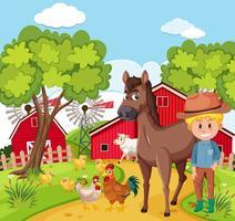 Agricultor e animal na fazenda vetor