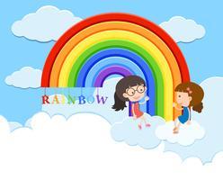Meninas estão falando sobre o arco-íris