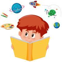 Menino jovem, lendo um livro, com, imaginação vetor