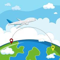 Um avião, voando, para, destino vetor