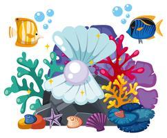Cena subaquática com pérola e peixe vetor