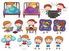 Um conjunto de crianças e atividades de doodle vetor