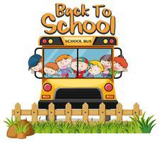 Crianças no ônibus escolar no fundo branco vetor