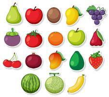 Um conjunto de frutas autocolante vetor