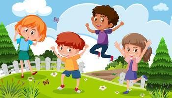Crianças, tocando, em, natureza vetor