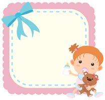 Modelo de fronteira com menina e teddybear vetor