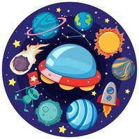 OVNI e muitos planetas na galáxia vetor